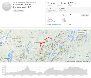 Colebrook to Lac Megantic